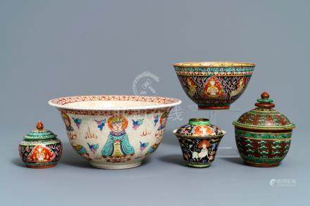 Five Chinese Thai market Bencharong-style bowls, 19th C.