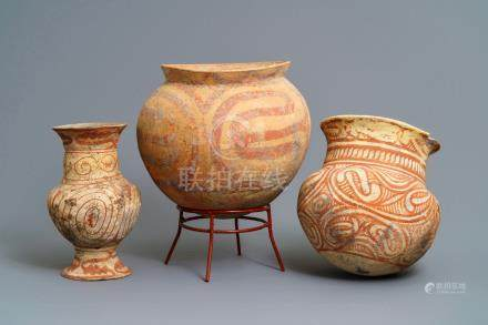 Three Ban Chiang culture pottery jars, Thailand, 600 - 300 b.C.