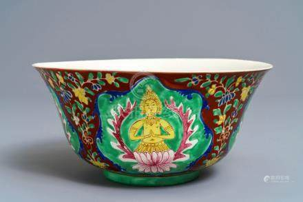 A large Chinese Thai market Bencharong bowl, 19th C.