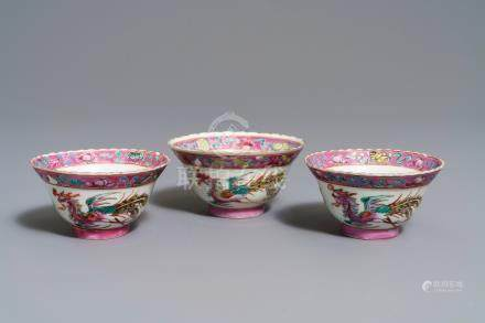 Three Chinese famille rose Peranakan or Straits market bowls, 19th C.