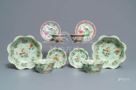 Six Chinese celadon bowls and a pair of bowls on stands for the Peranakan or Straits market, 19th C.