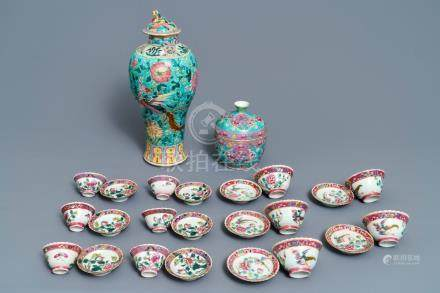 A collection of Chinese famille rose Peranakan or Straits market cups and saucers and a vase, 19th C.