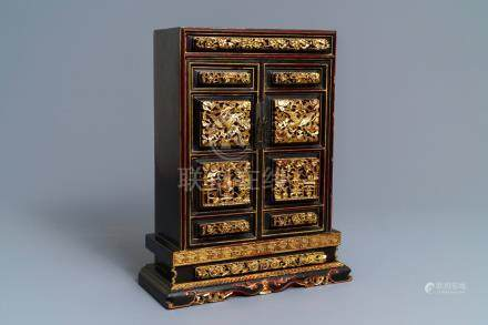 A Chinese Peranakan or Straits market gilded and lacquered altar cabinet, 19th C.