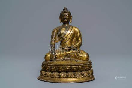 A gilt bronze figure of Buddha Shakyamuni, Tibet, 15/16th C.
