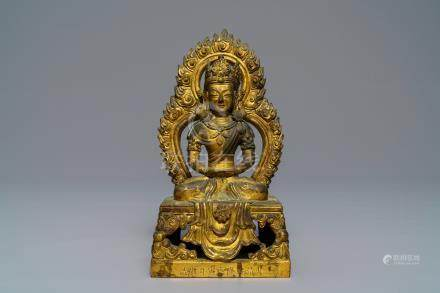 A Sino-Tibetan gilt bronze figure of Amitayus, dated 1770, Qianlong
