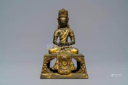 A Sino-Tibetan gilt bronze figure of Amitayus, Qianlong