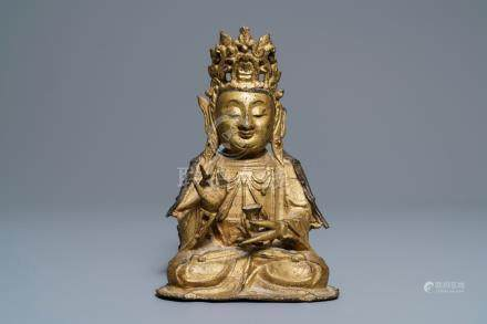 A Chinese gilt bronze figure of Buddha, Ming