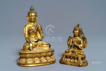 Two Sino-Tibetan gilt bronze figures of Buddha Shakyamuni and Avalokiteshvara, 18/19th C.
