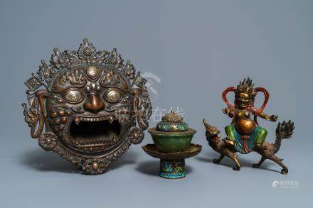 A Tibetan silver-inlaid bronze mask, a figure of Mahakala and a jade bowl on stand, Tibet, 19/20th C.
