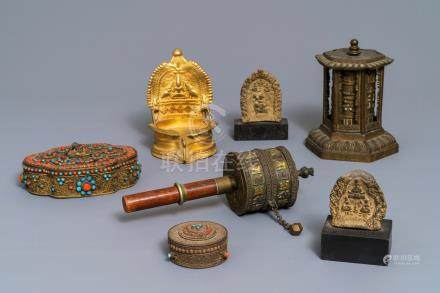 A varied collection of Tibetan votive objects, 19/20th C.