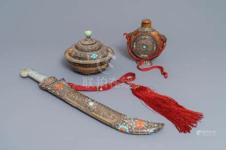 A Tibetan inlaid silver sword with jade hilt, a covered bowl and a flask, 19th C.