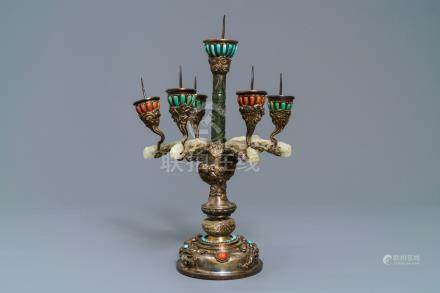 A coral and turquoise inlaid silver and jade candlestick, China or Tibet, 18/19th C.
