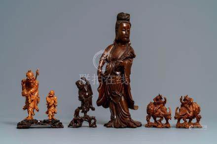 Six Chinese carved wood figures, 19/20th C.