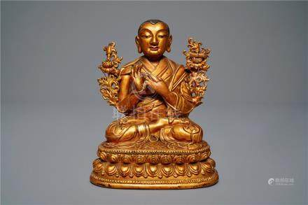 A large Chinese carved lacquered giltwood figure of Tsongkhapa, 18th C.