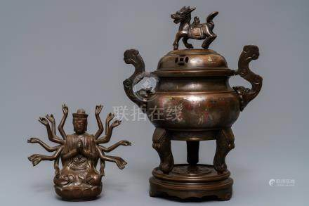 A silver inlaid bronze incense burner and a model of Avalokiteshvara, China or Vietnam, 19/20th C.