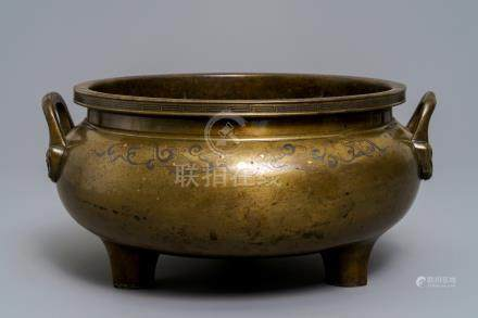 A large silver- and brass-inlaid bronze incense burner, China or Vietnam, 19th C.