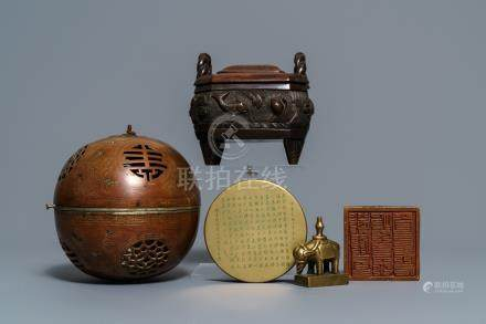 Two Chinese bronze censers, two seals and an inscribed box and cover, 19/20th C.