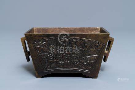 A rectangular Chinese bronze censer, Qianlong mark, 19th C.