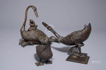 Three Chinese bronze incense burners and covers modelled as ducks and geese, 18/19th C.