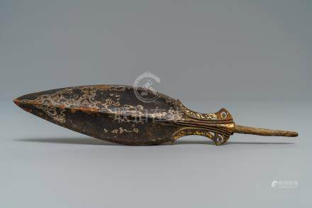 A Chinese gold and silver inlaid bronze spear point, Warring States period (475-221 BC)