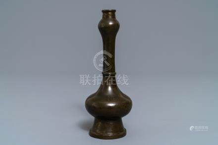 A Chinese gold-splashed bronze 'garlic head' vase, Ming