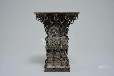 A Chinese archaistic ringed bronze fanggu vase, Ming