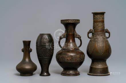 Four Chinese bronze vases, Song and later