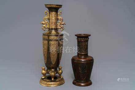 Two Chinese bronze vases, 19th C.