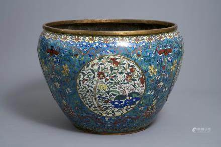 An exceptionally large Chinese gilt bronze and cloisonné fish bowl, Jiaqing