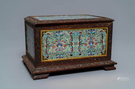 A rectangular Chinese cloisonné and wood box, 19th C.