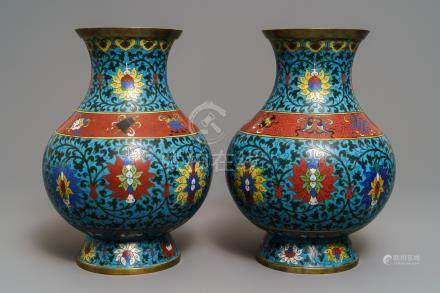 A pair of Chinese cloisonné 'lotus scroll' hu vases, 18th C.