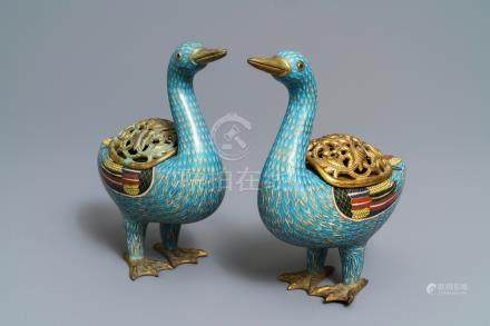 A pair of Chinese cloisonné duck-shaped incense burners and covers, Jiaqing