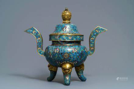 A large Chinese cloisonné incense burner and cover, 18/19th C.