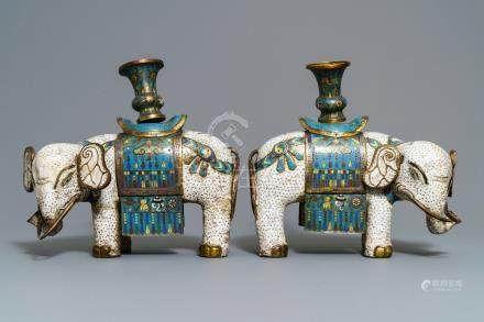 A pair of large Chinese cloisonné models of elephants, 19th C.