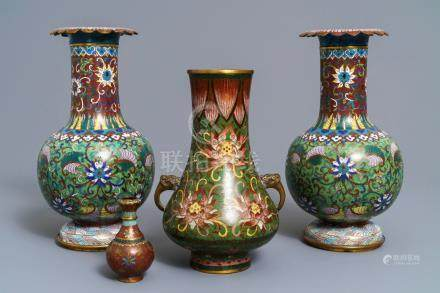 Four Chinese cloisonné vases, 19/20th C.