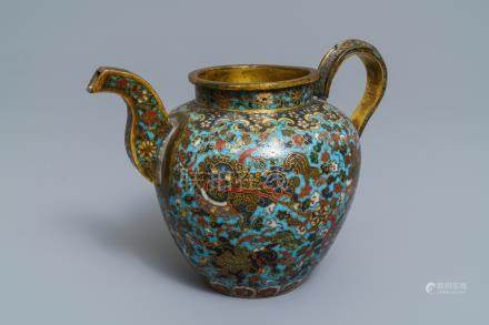 A Chinese cloisonné ewer with Buddhist lions, Ming