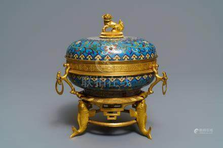 A gilt bronze mounted Chinese cloisonné box and cover, 19th C.