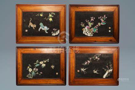 Four Chinese famille rose black gravel-embellished plaques, Qianlong