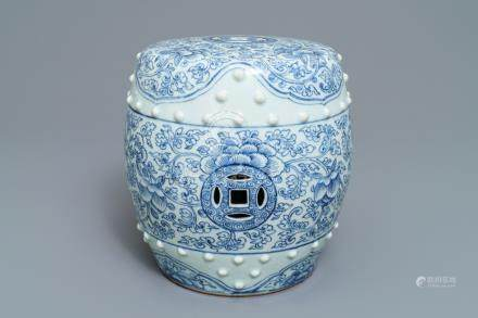 A Chinese blue and white drum-shaped arm rest, Qianlong