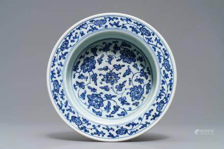 A Chinese blue and white flower scroll basin, Qianlong