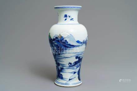 A Chinese blue and white 'river landscape' baluster vase with overglaze accents, Kangxi