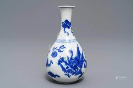 A Chinese blue and white 'dragon' vase, Kangxi