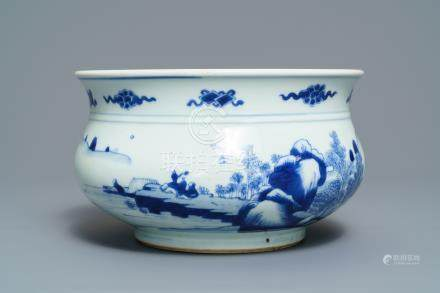 A Chinese blue and white censer with figures in a landscape, Kangxi