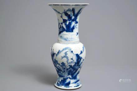 A Chinese blue and white yenyen vase with figures in a landscape, Kangxi