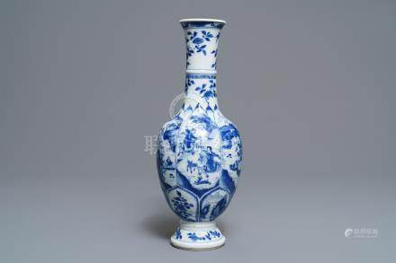 A Chinese blue and white bottle vase with horseriders and landscapes, Kangxi