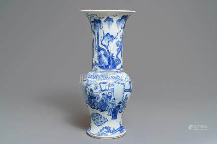 A Chinese blue and white yenyen vase with fine figurative design, Kangxi