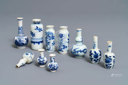 Ten fine Chinese blue and white miniature vases, Kangxi
