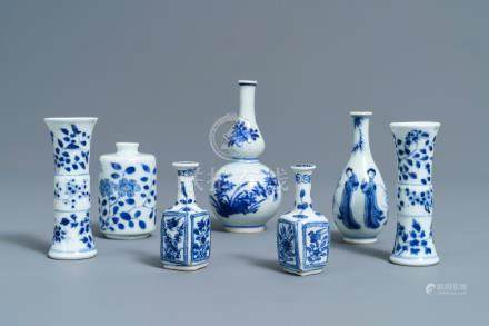 Seven fine Chinese blue and white miniature vases, Kangxi