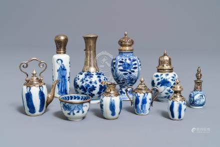 Ten Chinese silver-mounted blue and white miniature vases, Kangxi