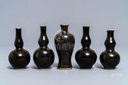 A Chinese monochrome black five-piece miniature garniture, Kangxi